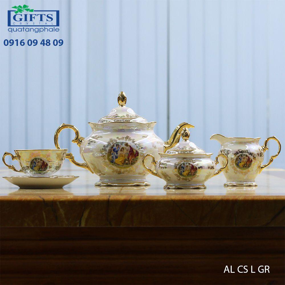 Bộ ấm trà sứ AL-CS-L-GR