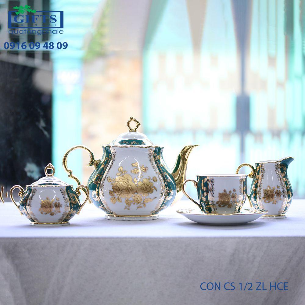 Bộ ấm trà sứ CON-CS-1.2-ZL-HCE