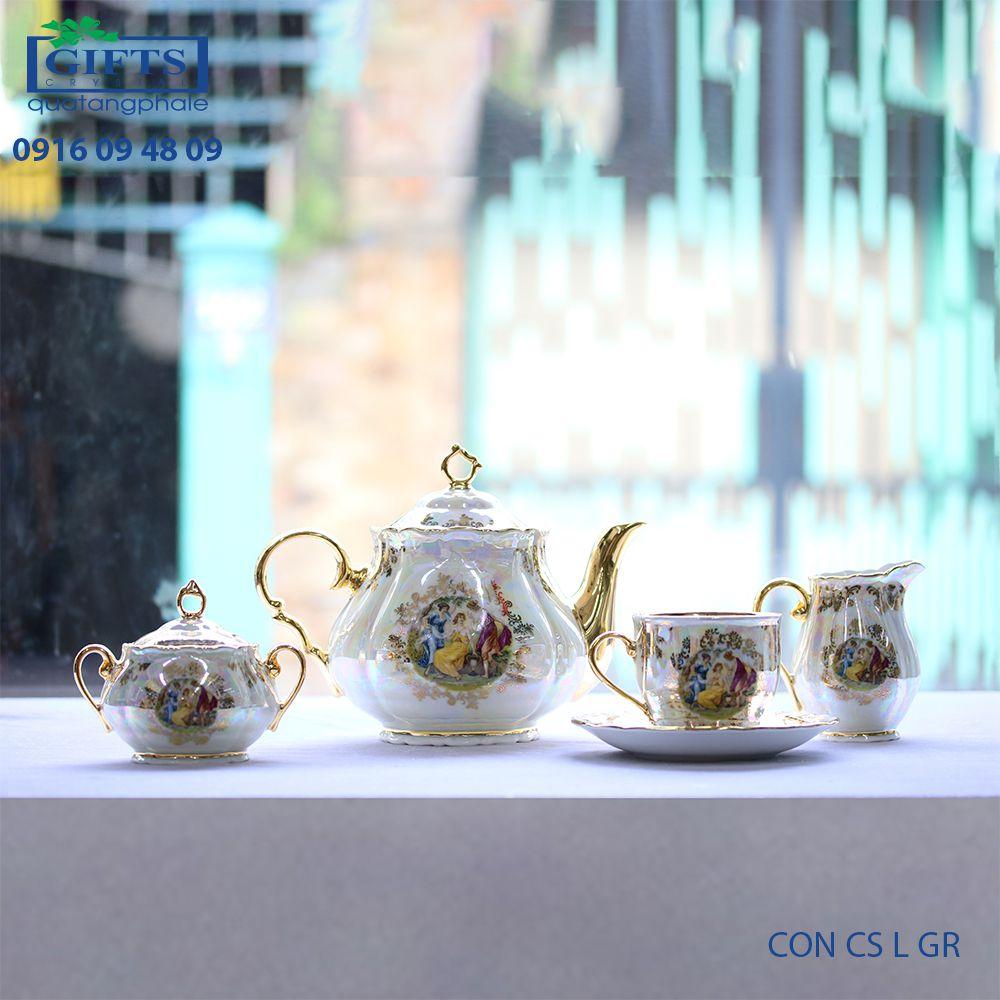 Bộ ấm trà sứ CON-CS-L-GR