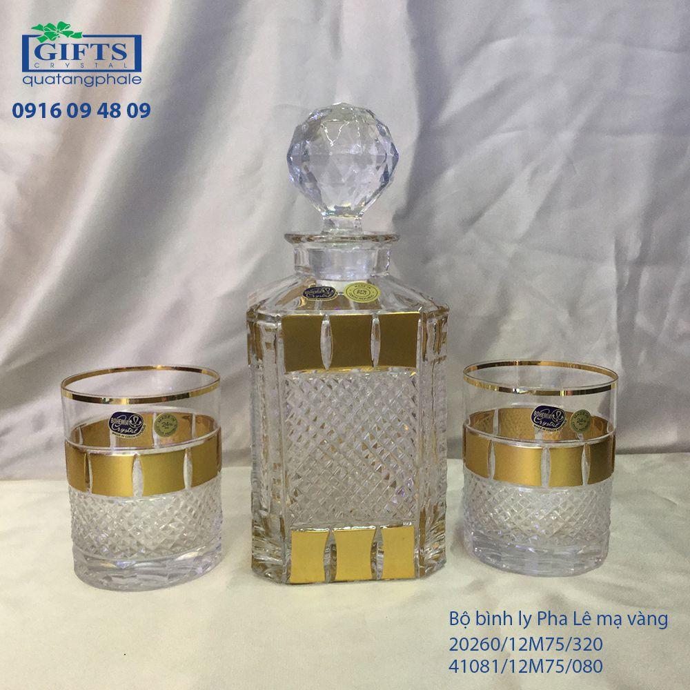 Bộ Bình Ly Pha Lê Mạ Vàng 41081-12M75-80